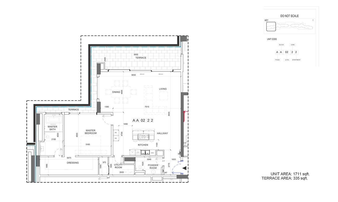 Unit Area  1711 - Terrace Area  355-Sqft
