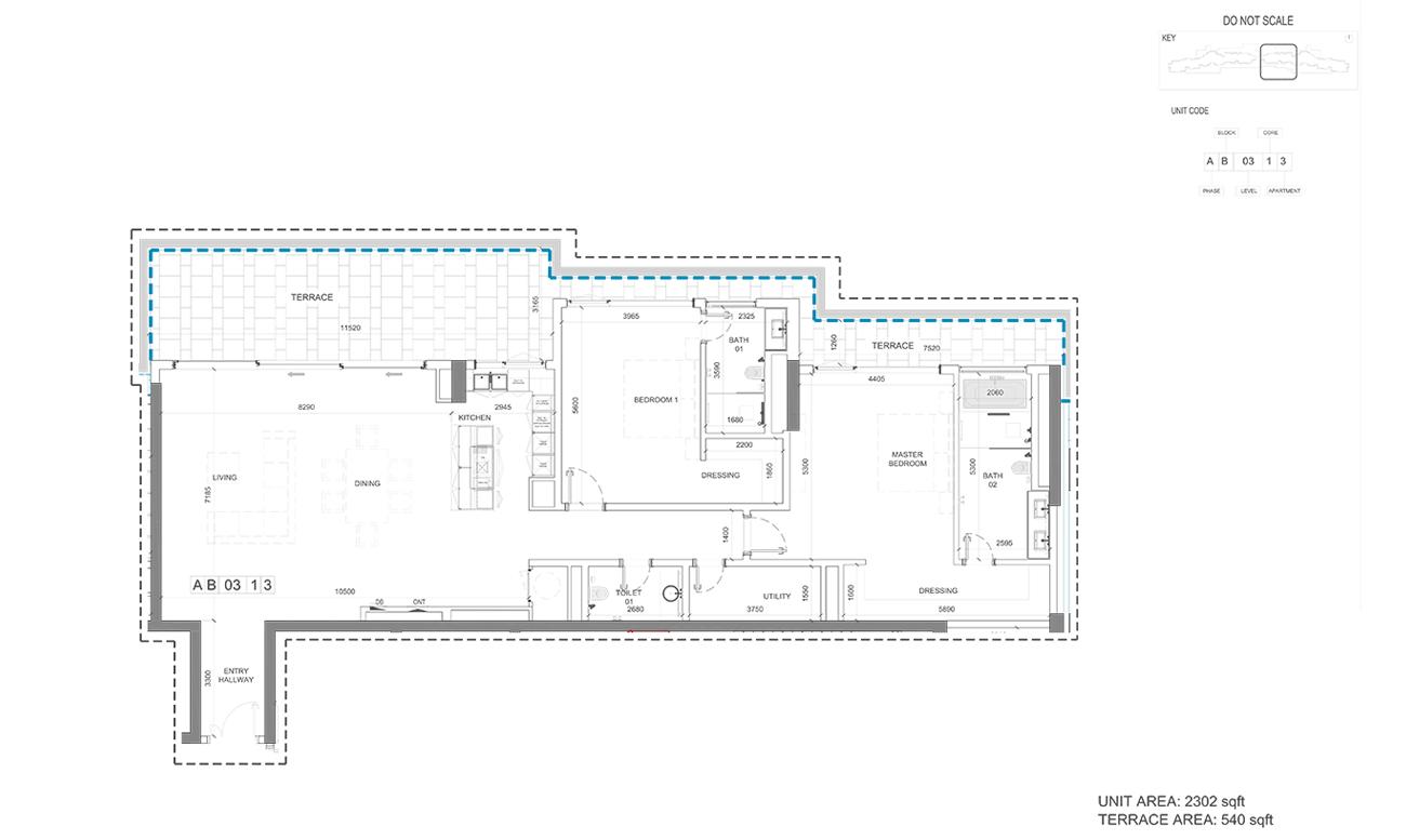Unit Area  2302 - Terrace Area  540-Sqft