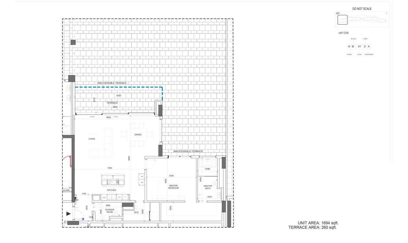Unit Area 1694 - Terrace Area 260-Sqft