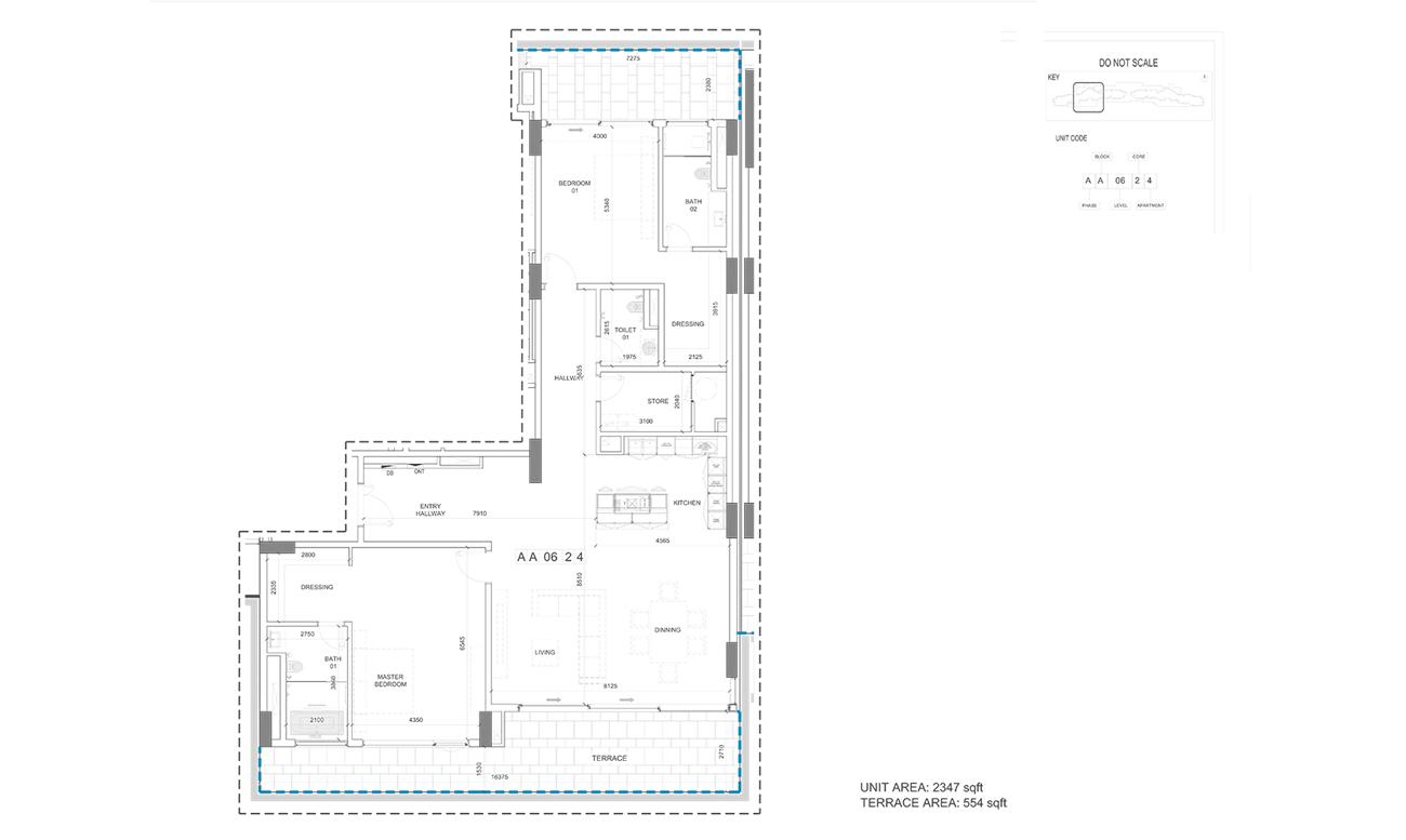 Unit Area 2347 - Terrace Area 554-Sqft
