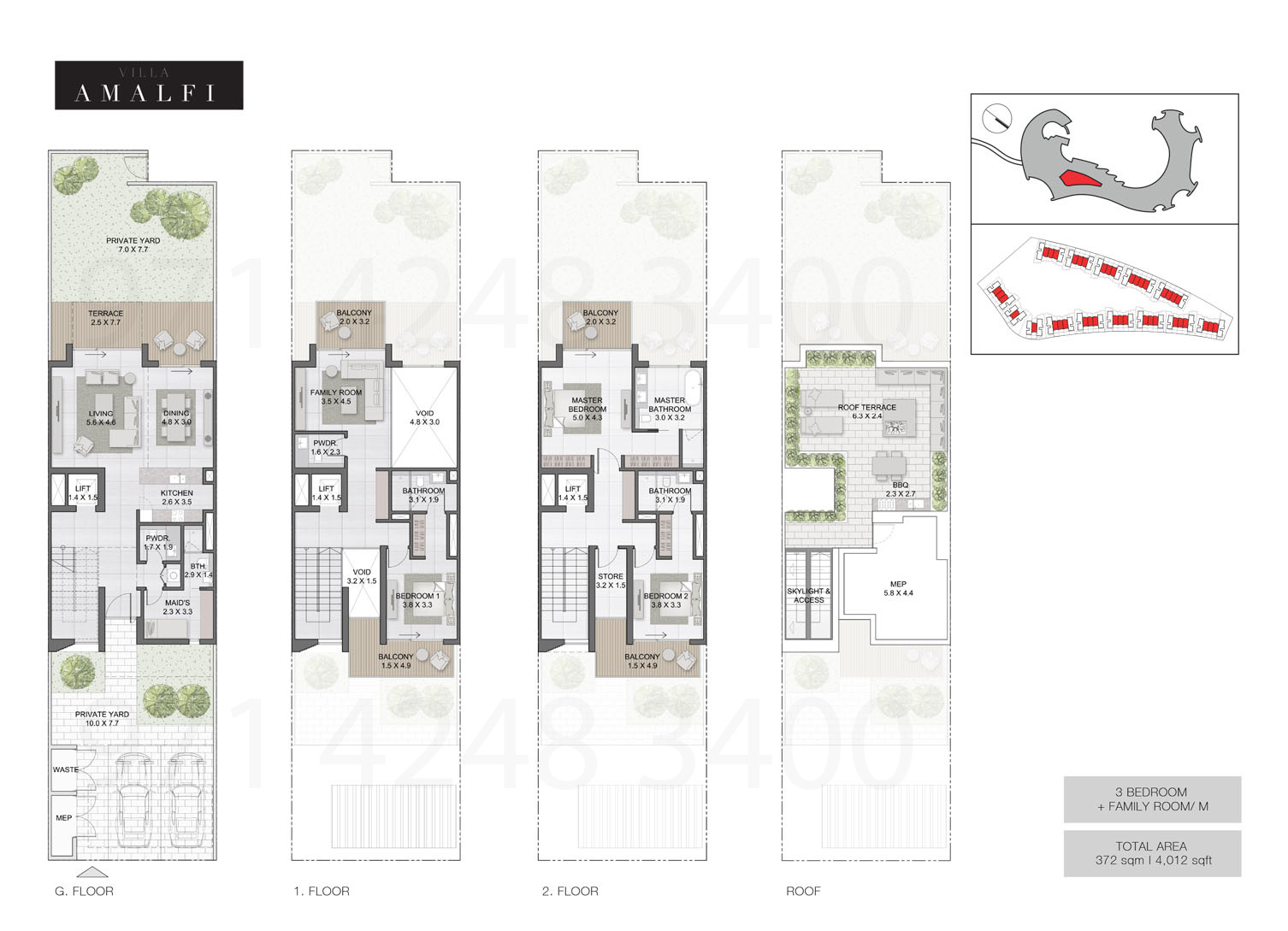 Bedroom 3 Villas, Sizes from 4,012 sq.ft