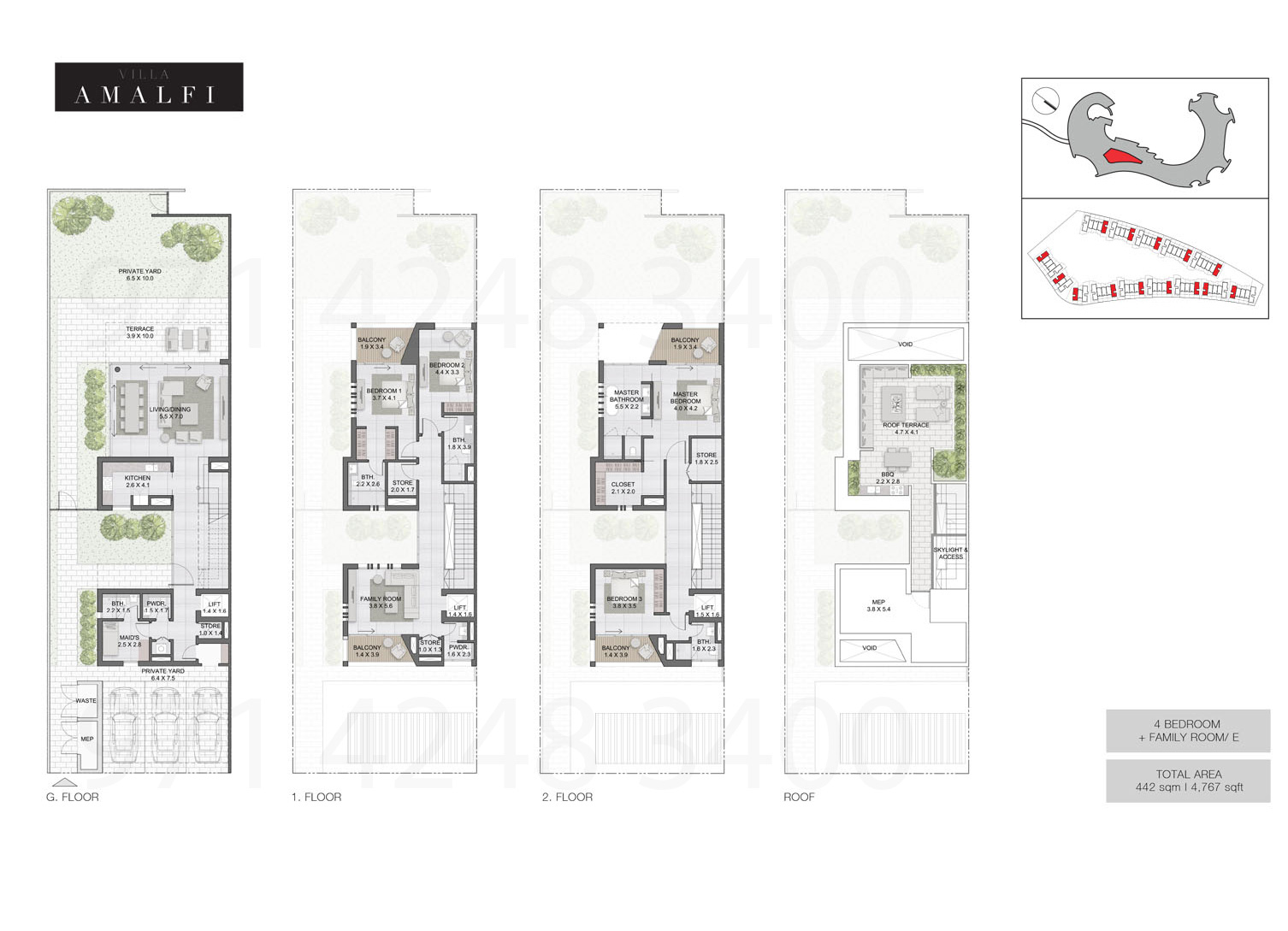 Bedroom 4 Villas, Sizes from 4,767 sq.ft