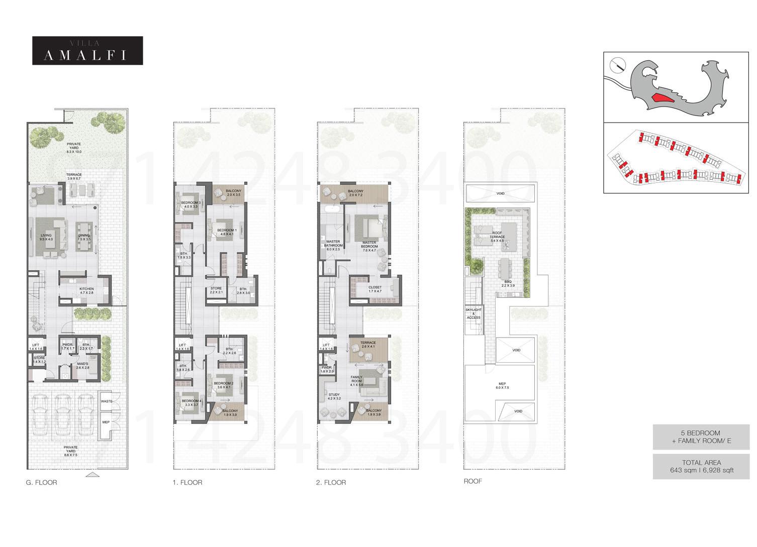 Bedroom 5 Villas, Sizes from 6,928 sq.ft