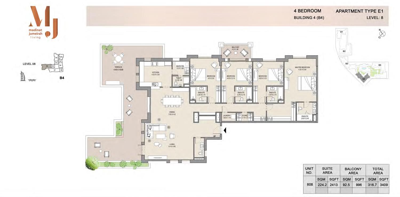 المنبى رقم 4 - اربع غرف نوم - الطابق الثامن نوع إي 1 - المساحة 3409 قدم مربع
