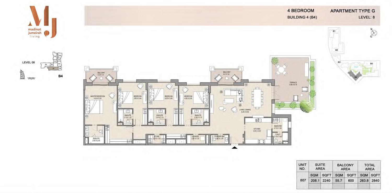 المنبى رقم 4 - اربع غرف نوم - الطابق الثامن نوع جي 1 - المساحة 2840 قدم مربع