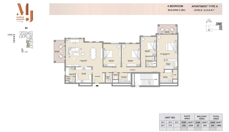 اربع غرف نوم، منبى 2 - نوع ايه، من الطابق الـ3 إلى الـ7 - المساحة 2690 قدم مربع