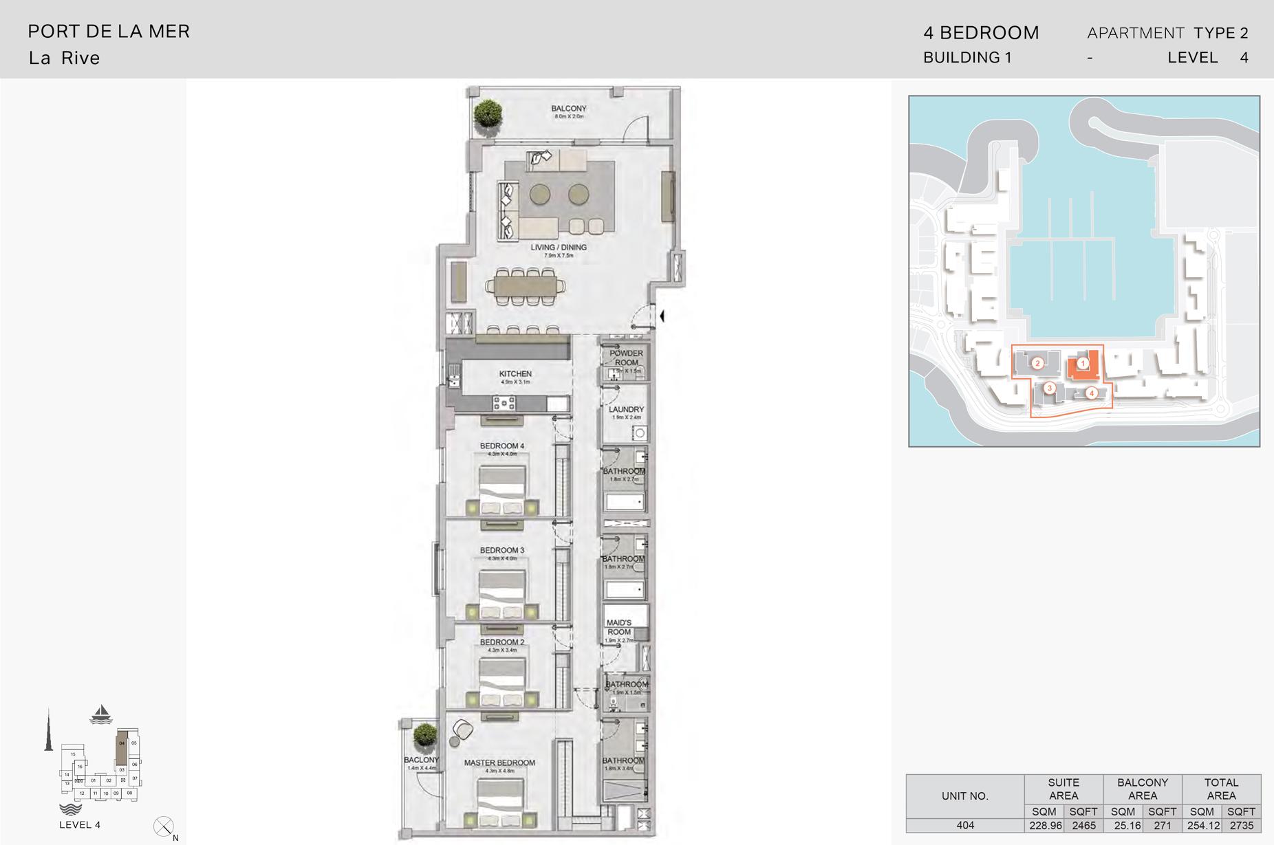 4 غرف نوم، منبى 1- نوع  2 - المساحة 2735 قدم مربع