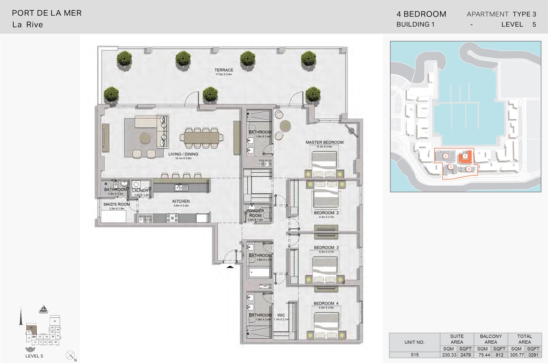 4 غرف نوم، منبى 1- نوع  3 - المساحة 3291 قدم مربع