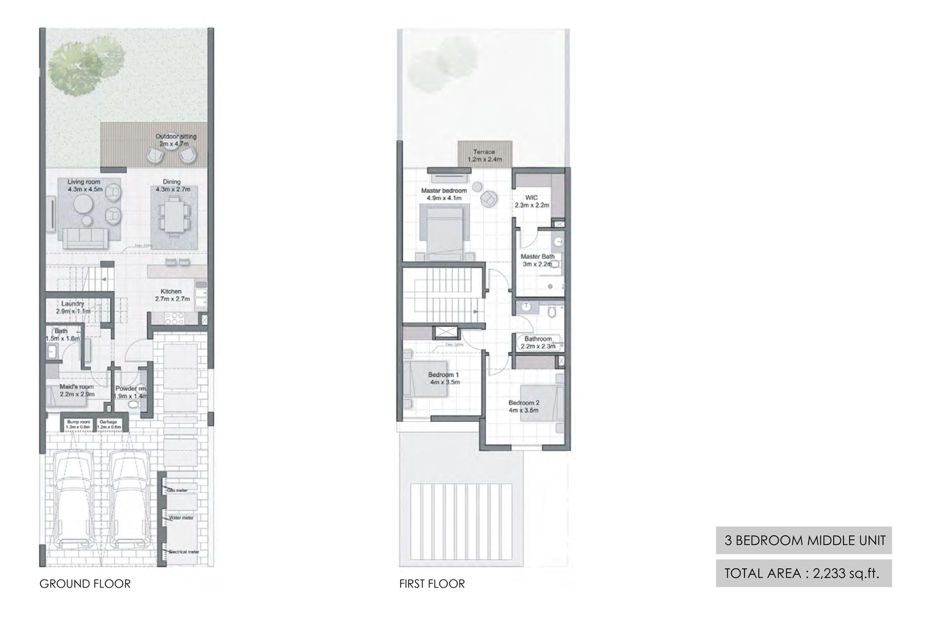 ثلاث غرف نوم، وحدة وسطية، حجم 2233 قدم مربع