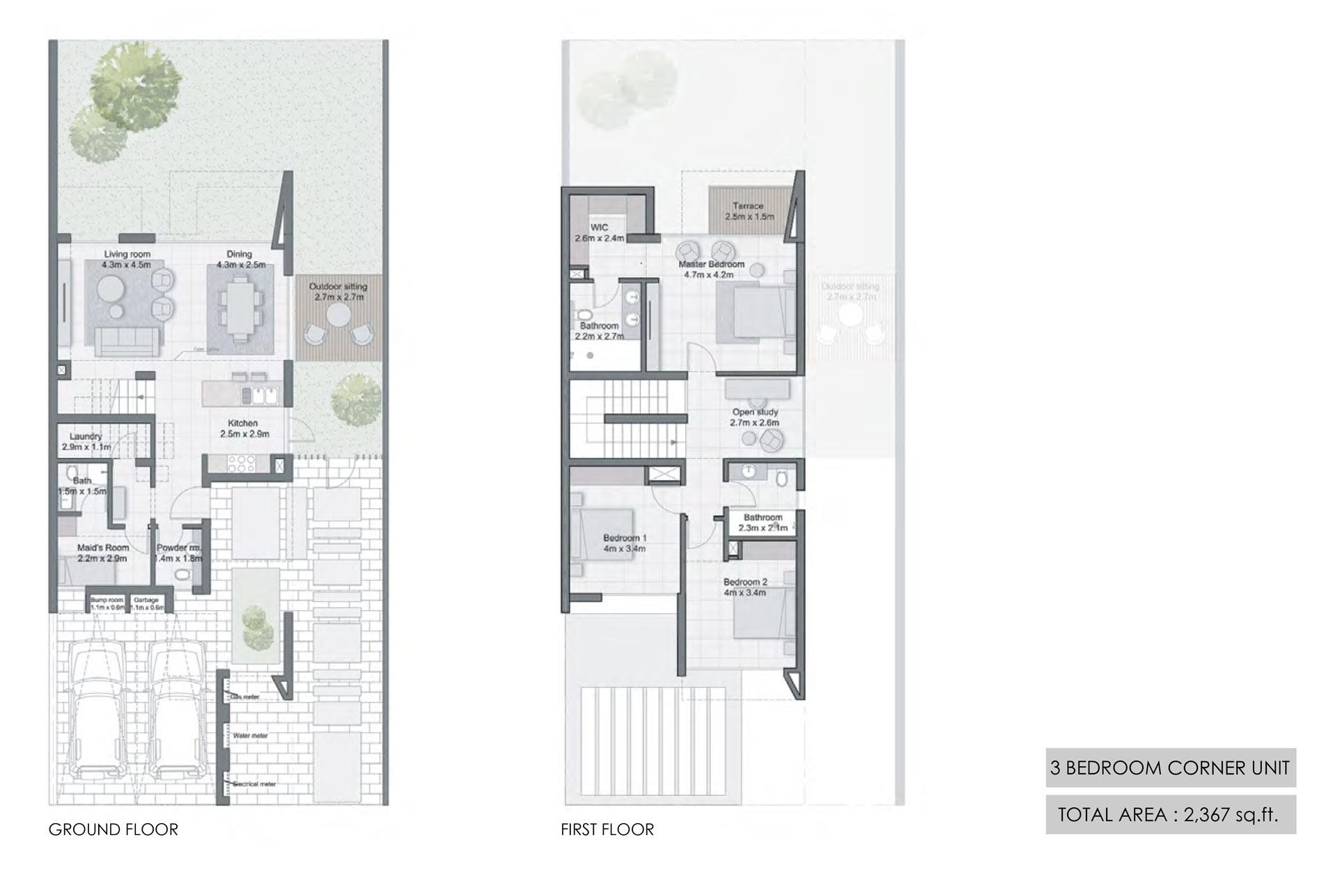 ثلاث غرف نوم، وحدة الزاوية، حجم 2367 قدم مربع