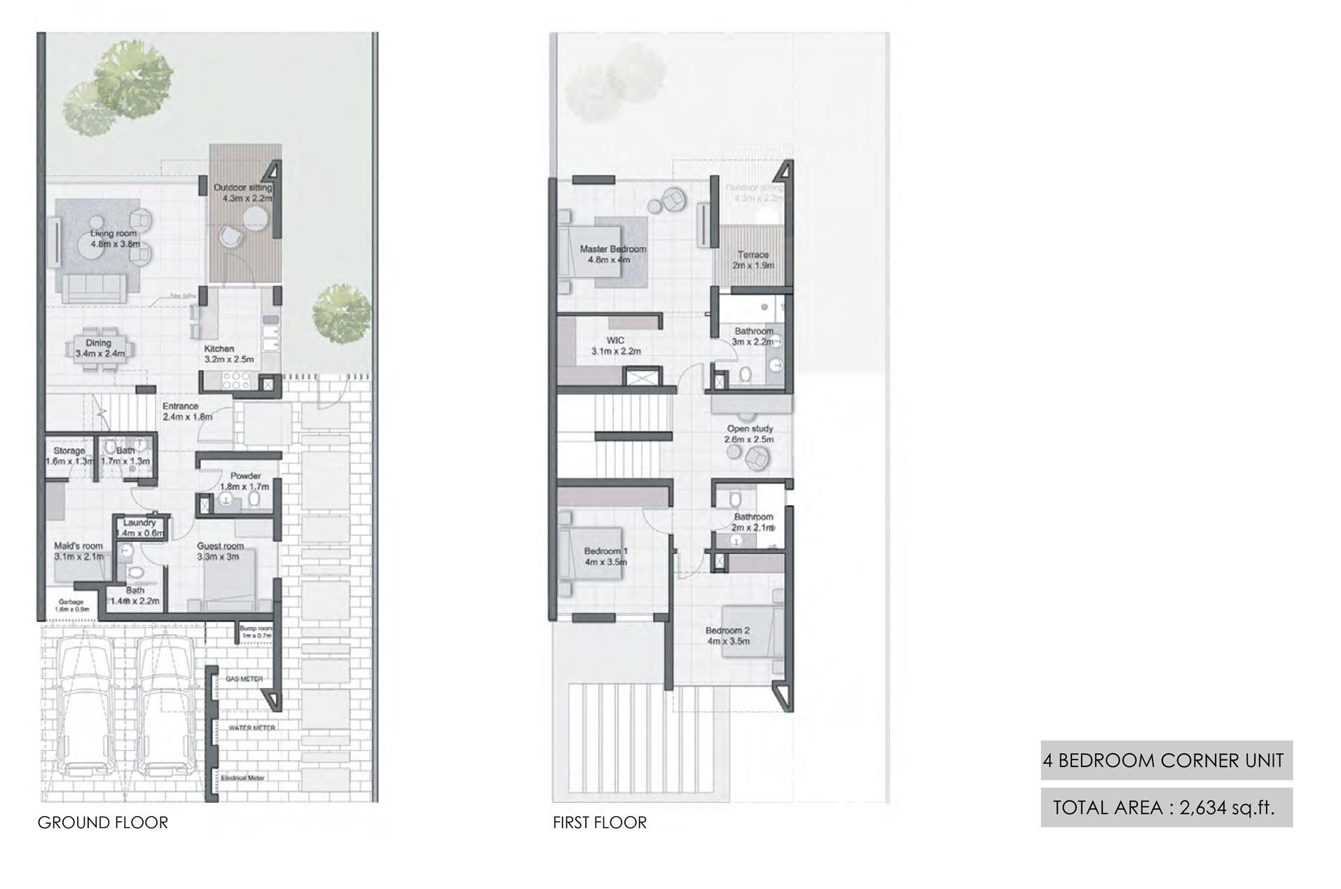 أربع غرف نوم، وحدة الزاوية، حجم 2634 قدم مربع
