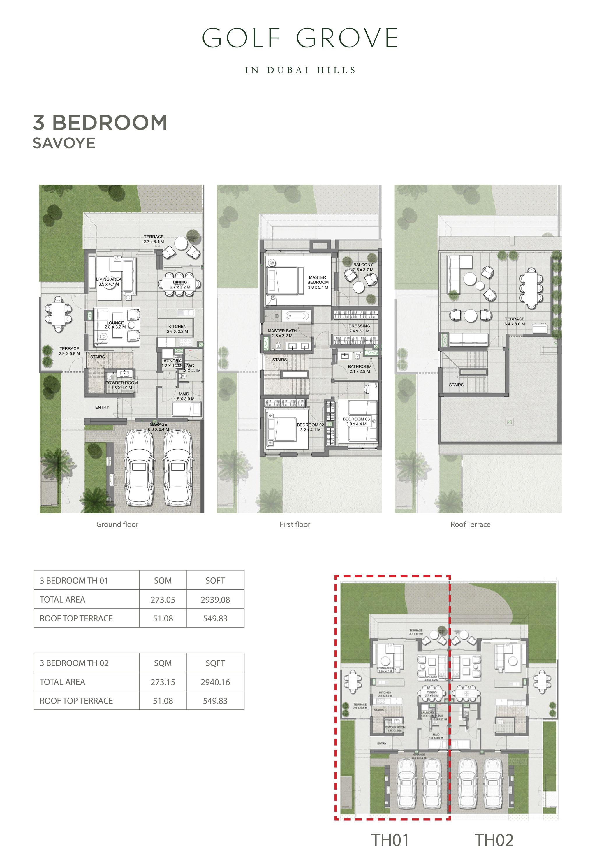 ثلاث غرف نوم– سافوي -  حجم: 2940 قدم مربع