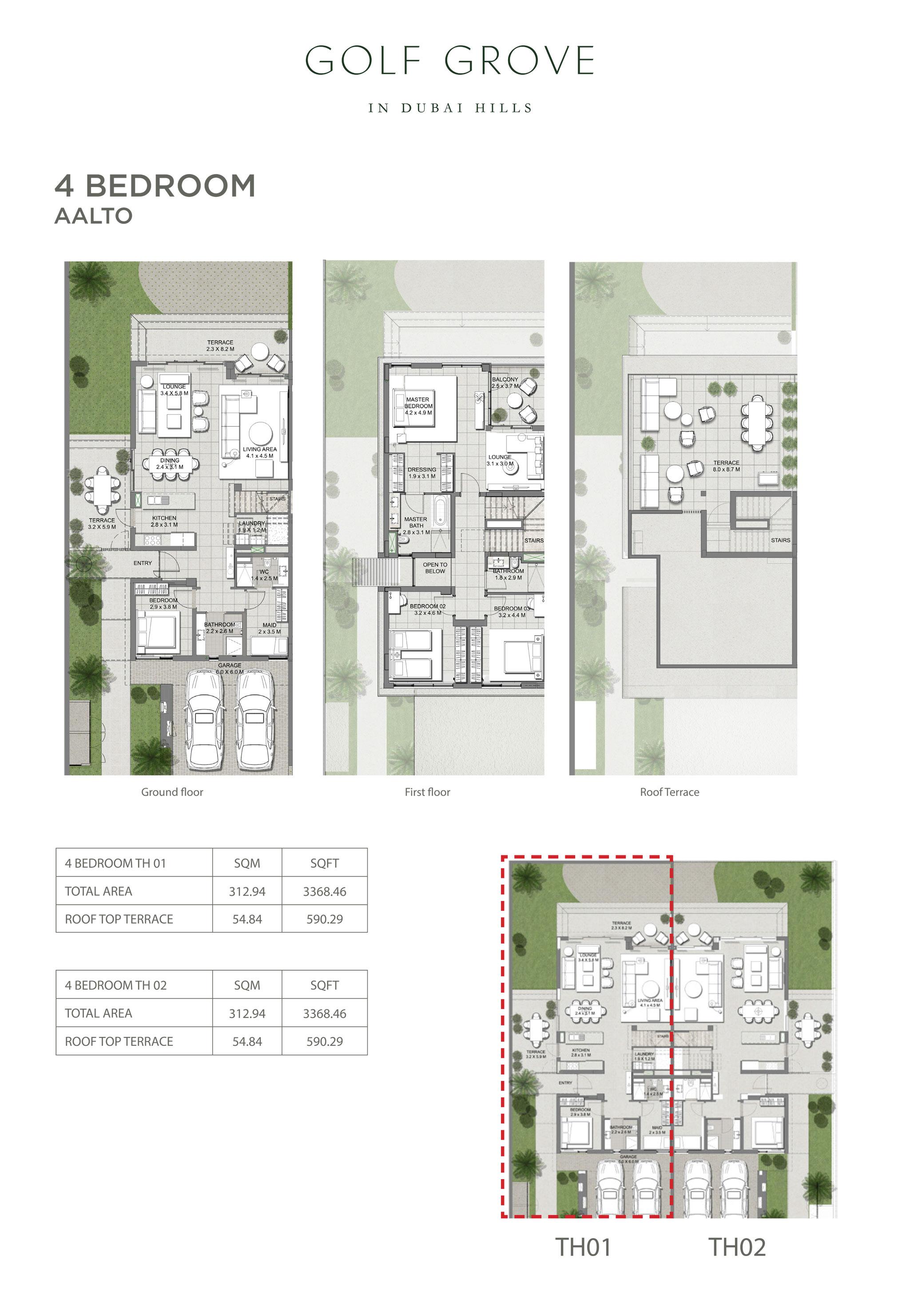 أربع غرف نوم  - آلتو - حجم: 3368 قدم مربع