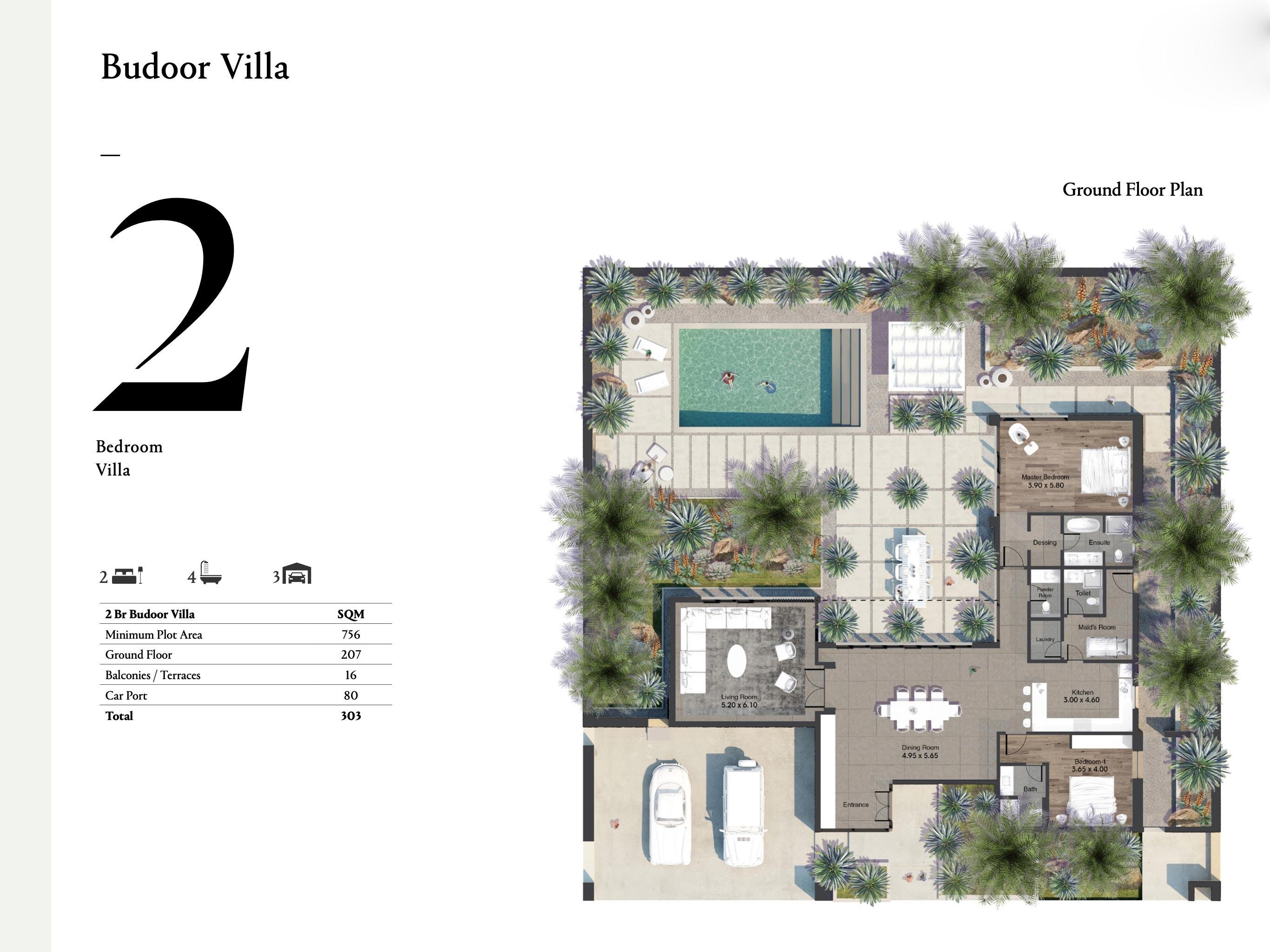 فلل بغرفتي نوم بمساحة 303 متر مربع