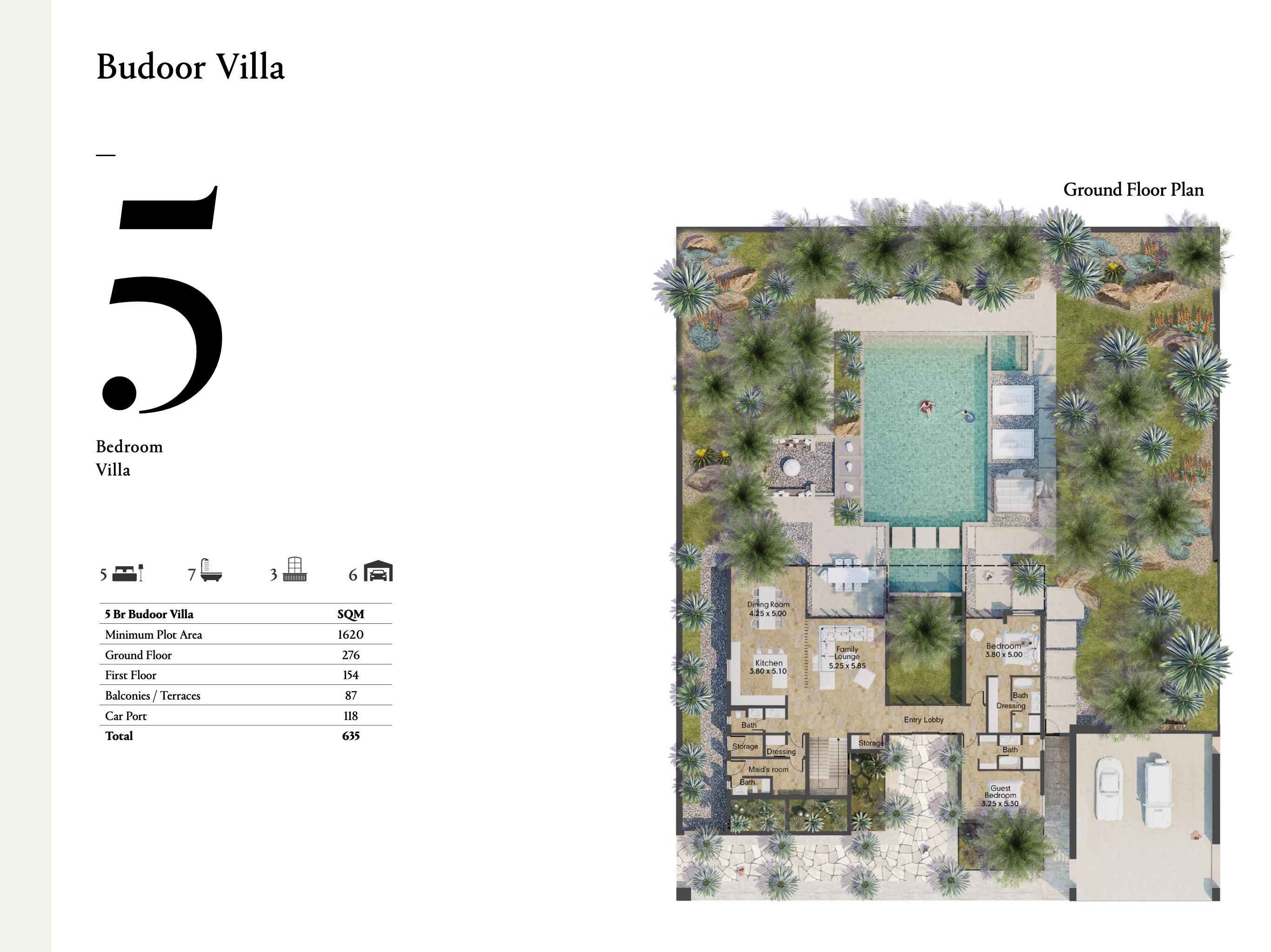 فلل من خمس غرف نوم بمساحة 635 متر مربع