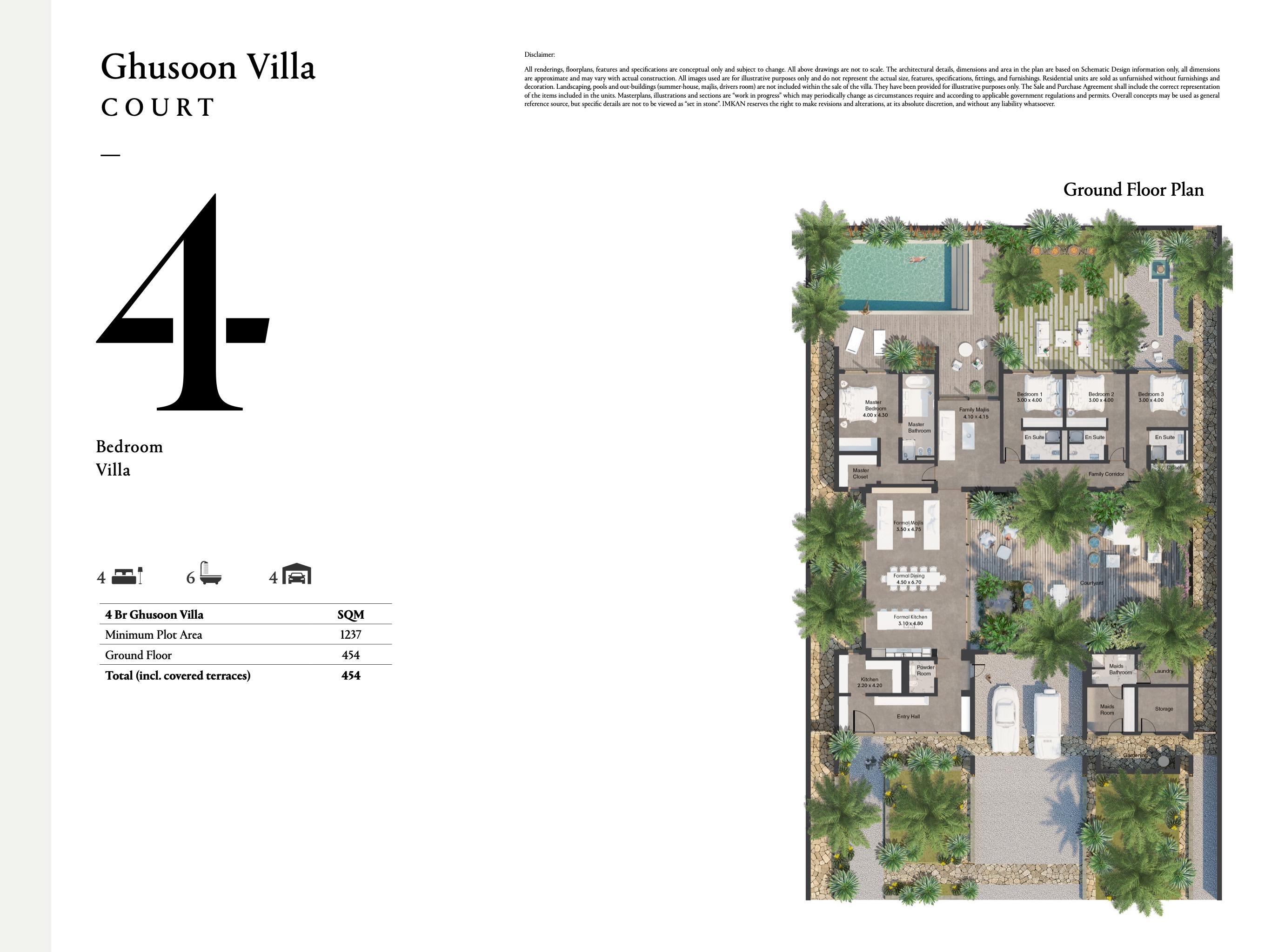 فلل من  4 غرف نوم بمساحة 454 متر مربع