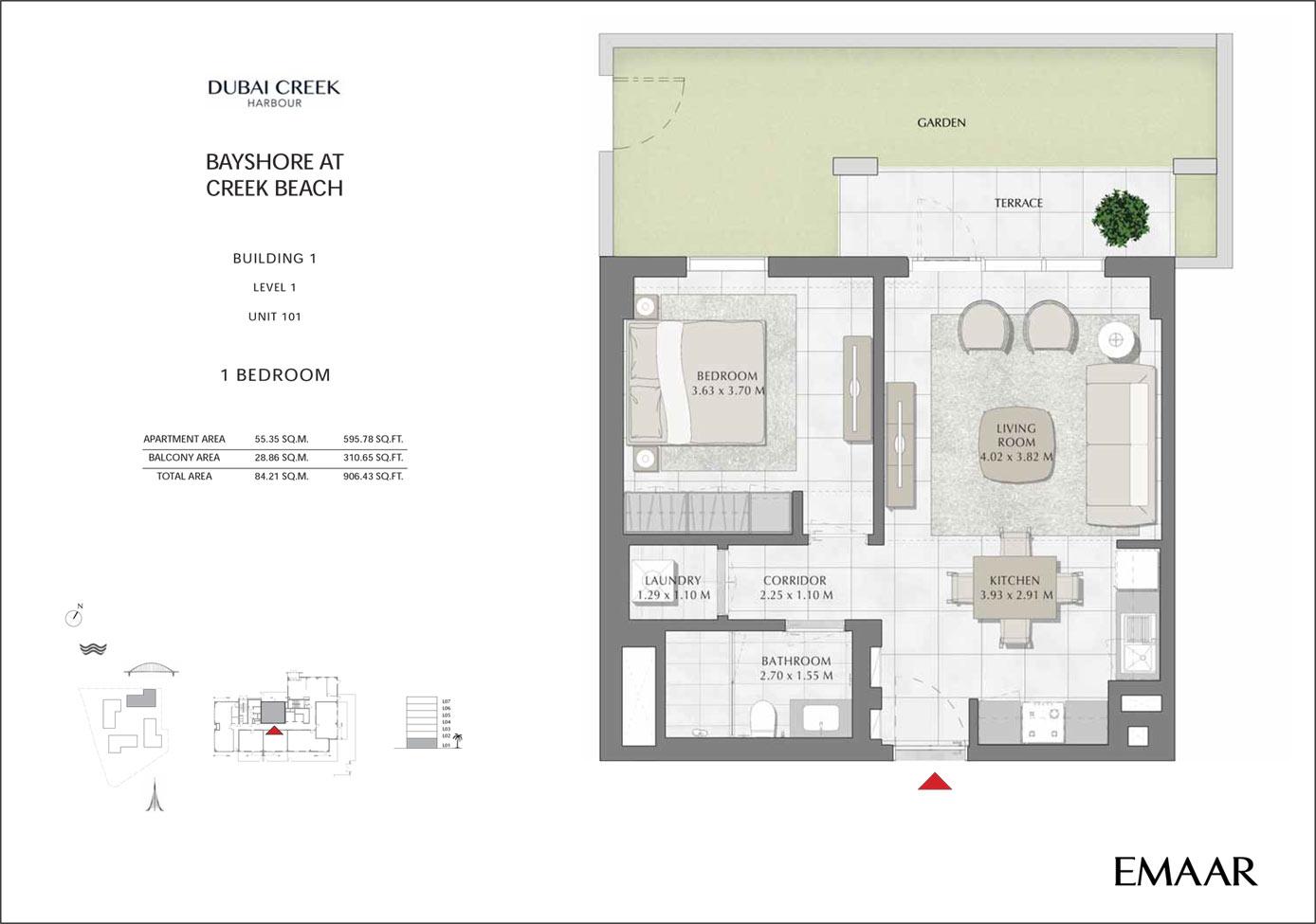 المبني 1 - 1 غرفة نوم،المستوى 1،وحدة 101، حجم 906 قدم مربع