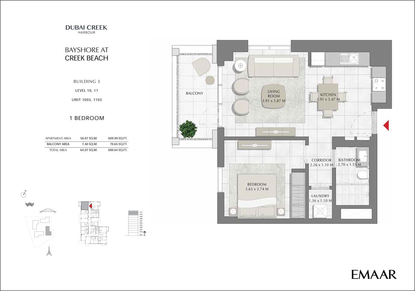 المبني3 - 1 غرفة نوم، المستوى 10-11، وحدة 1002-1102، حجم 692 قدم مربع