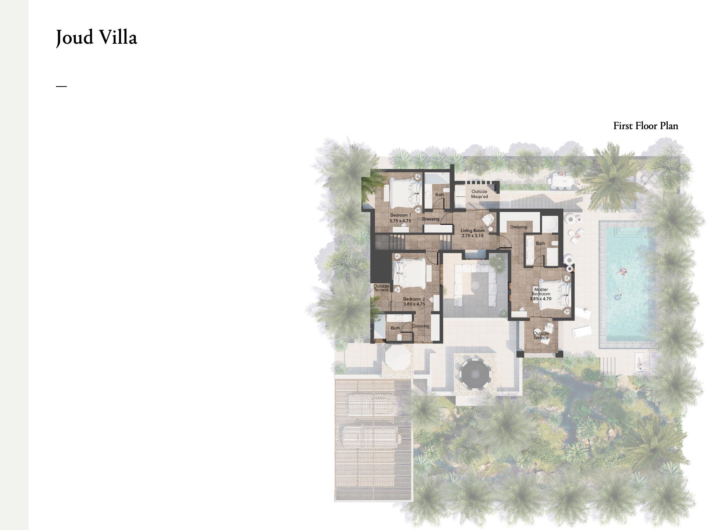 ثلاث غرف نوم مع الحجم 422 متر مربع