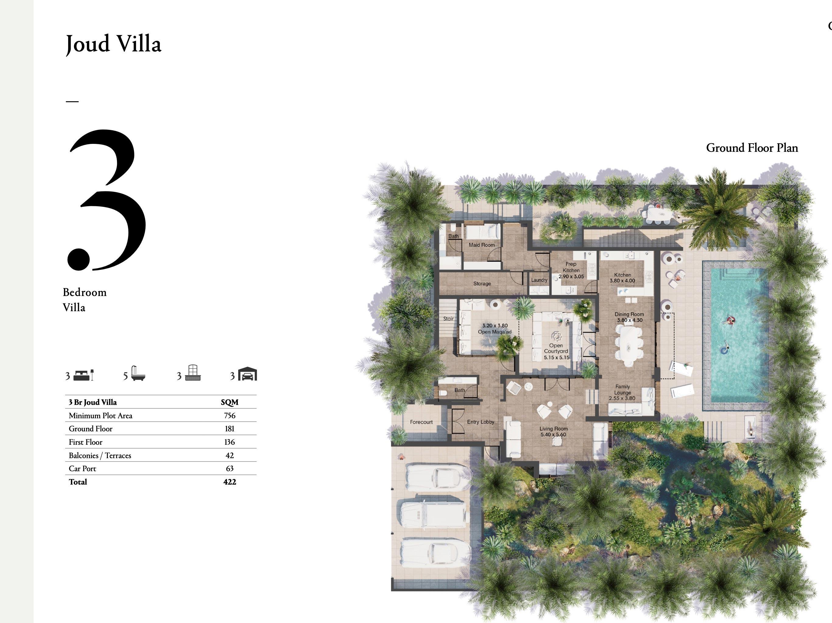 ثلاث غرف نوم معالحجم 422 متر مربع