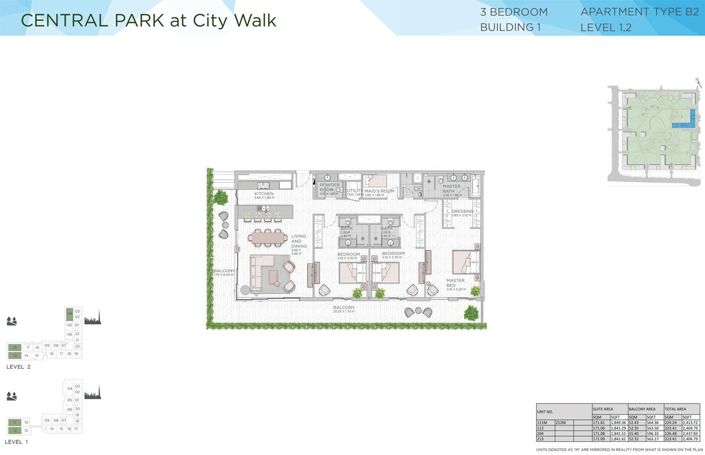 ثلاث غرف نوم، المبنى 1، المستوى 2 - 1، الفيئة B2 ،  حجم 2404-2437 قدم مربع