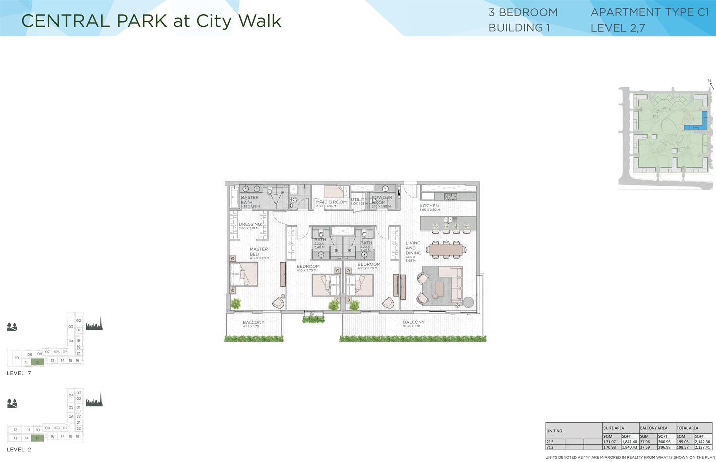ثلاث غرف نوم، المبنى 1، المستوى 2-7 ، الفيئة C1 ، حجم 2142 - 2137 قدم مربع