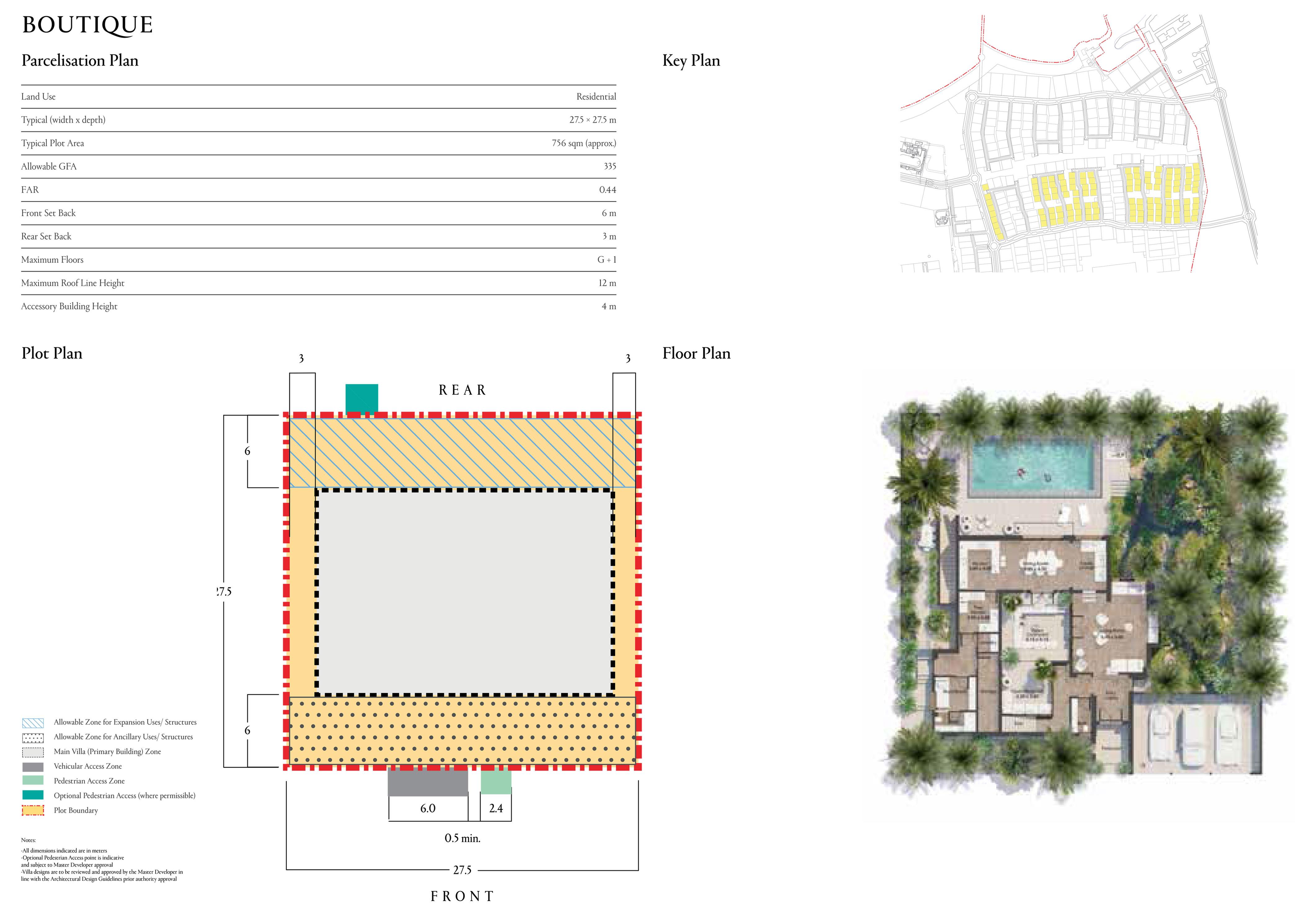 حجم القطعة النموذجية 756 متر مربع (27.5 × 27.5 مترًا)
