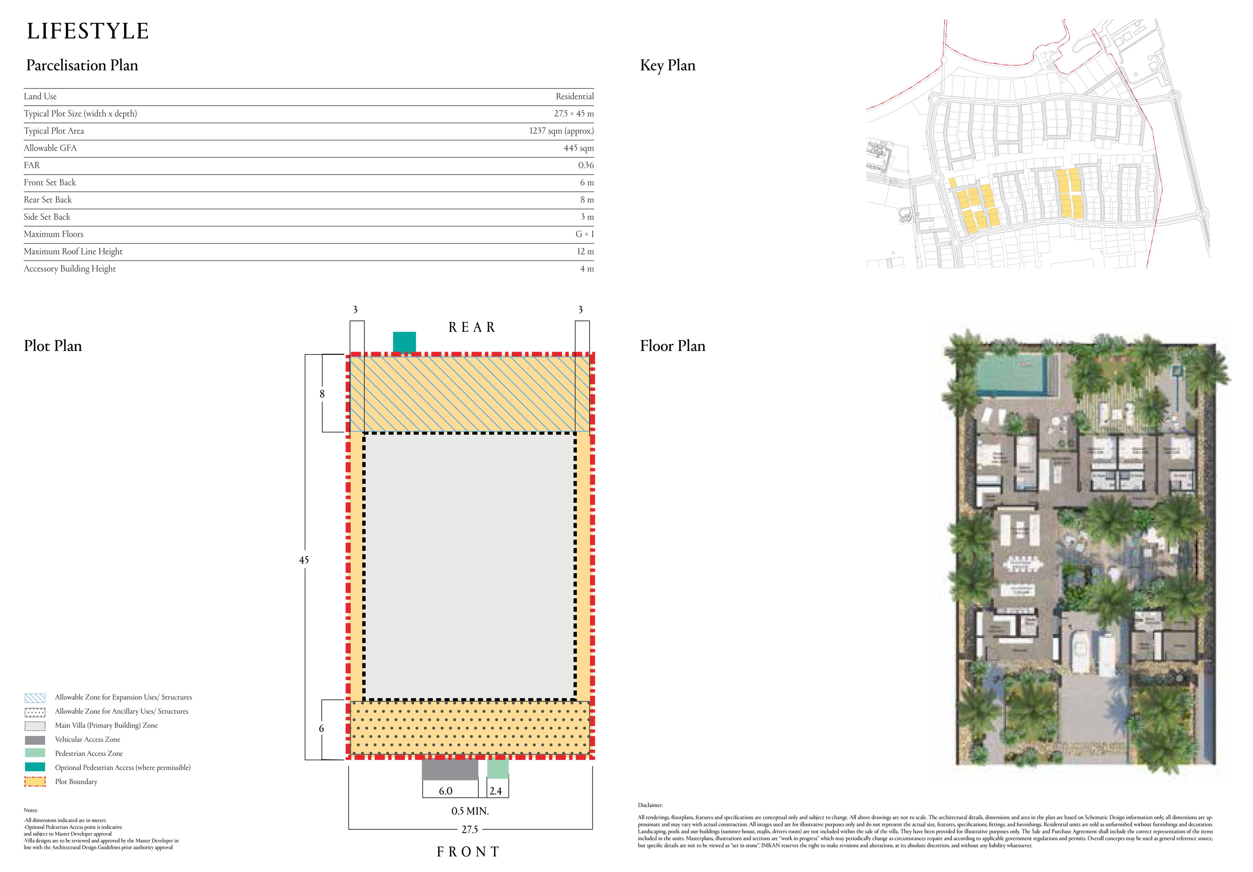 حجم القطعة النموذجية 1237 متر مربع (45 × 27.5 مترًا)