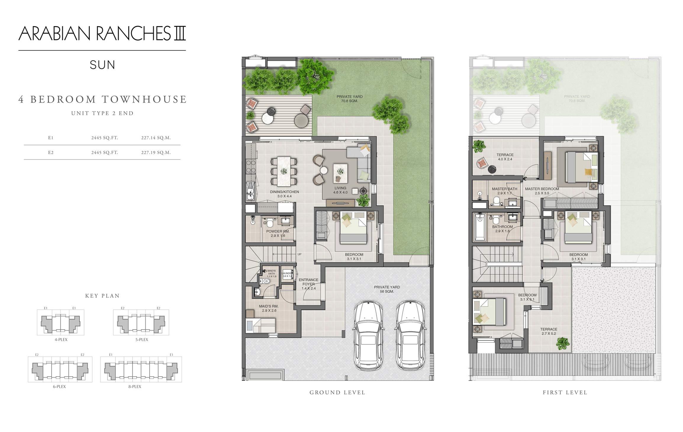 أربع غرف نوم، فيئة 2 مع حجم 2445  قدم مربع