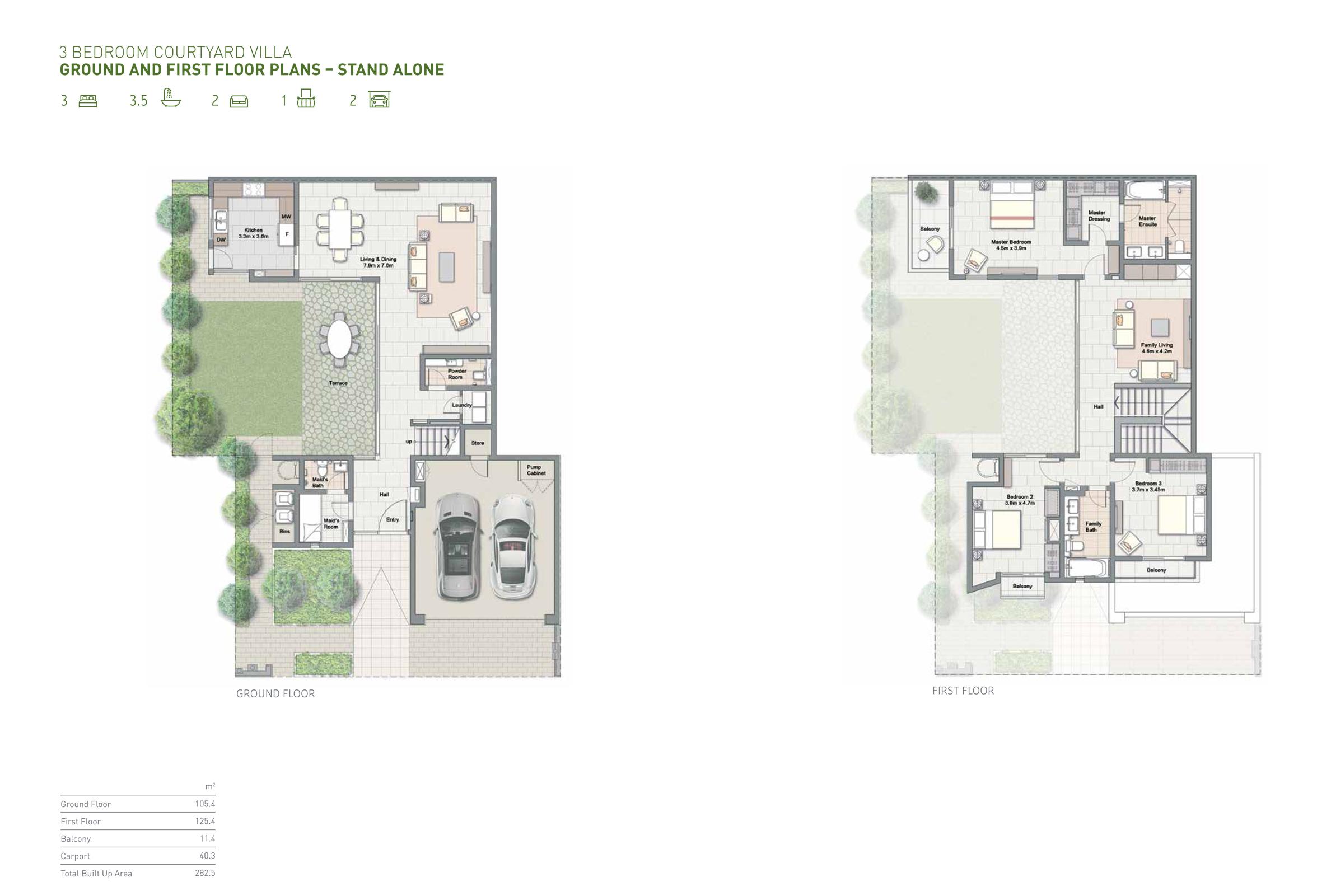 ثلاث غرف نوم – كورت يارد فيلا  – حجم 282 متر مربع