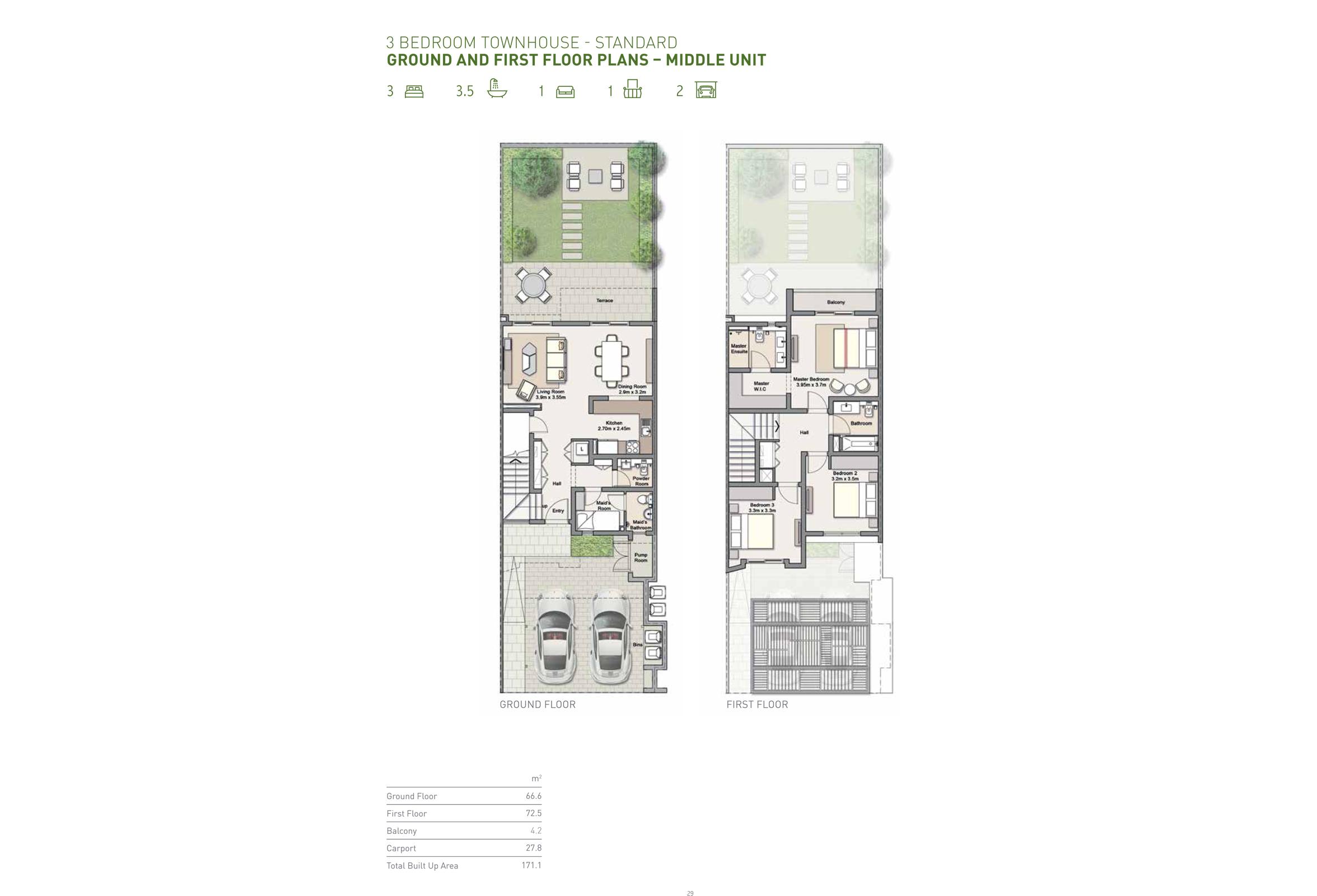 ثلاث غرف نوم – تاون هاوس إستندر – وحدة وسطية  – حجم 171 متر مربع