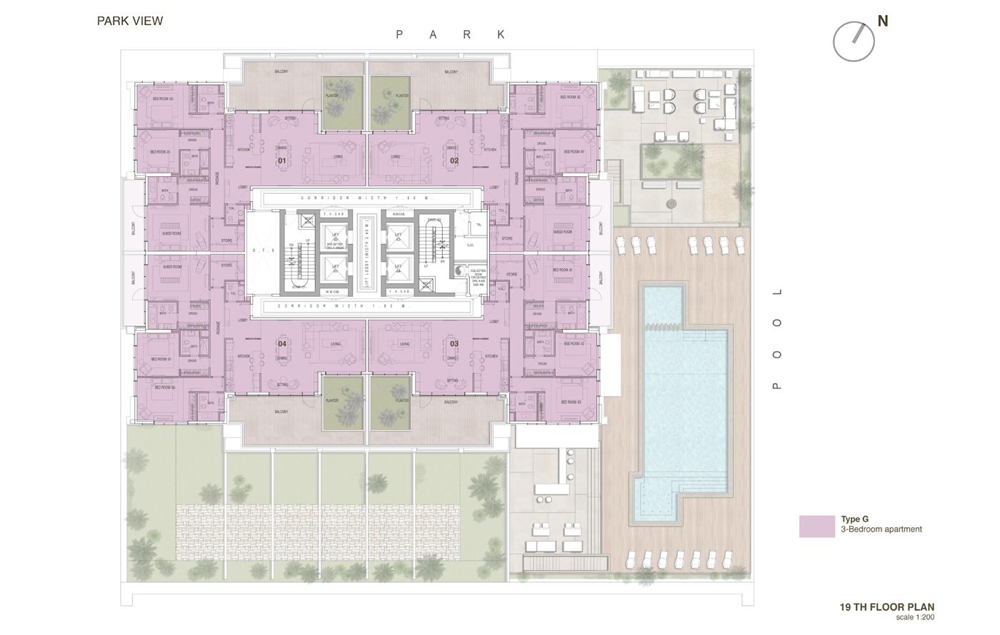 خطة الطابق الـ19 