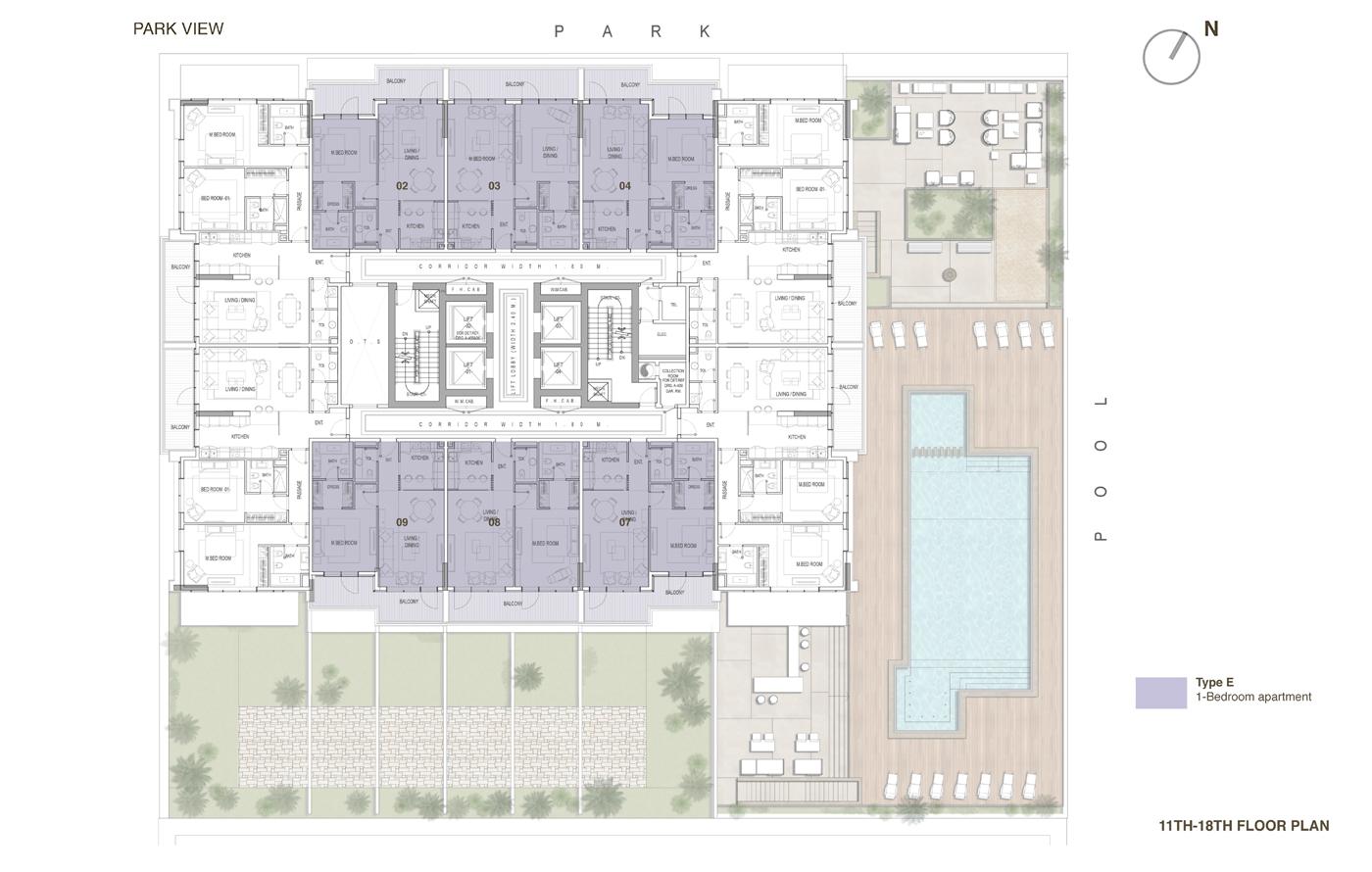 خطة الطوابق من الـ11 إلى الـ18 