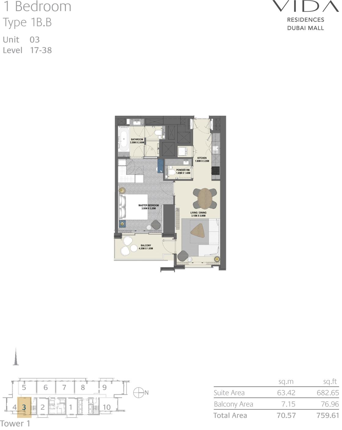 1 Bedroom Type 1B.B Unit 03 Level 17-38