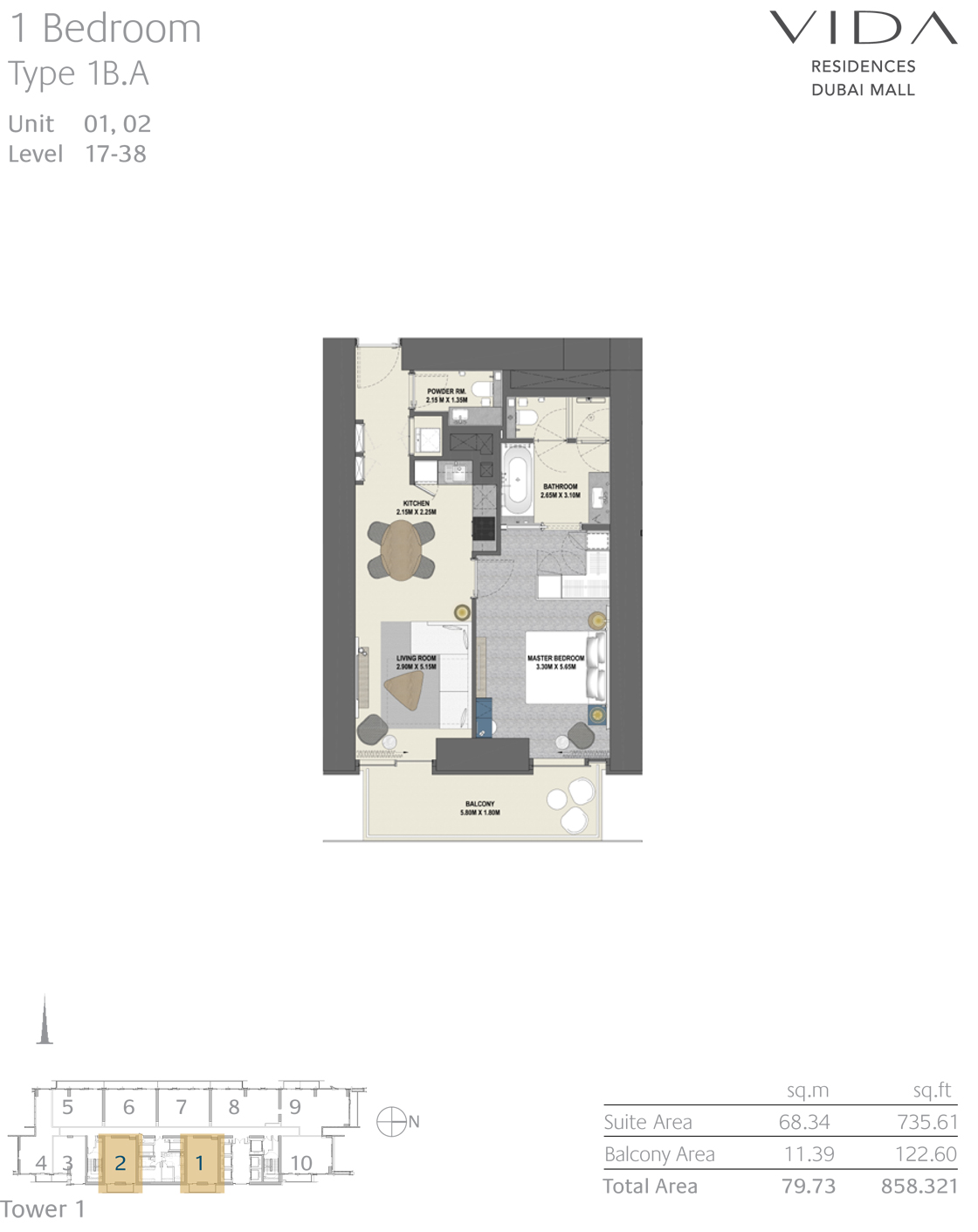 1 Bedroom Type 1B.A Unit 01, 02 Level 17-38