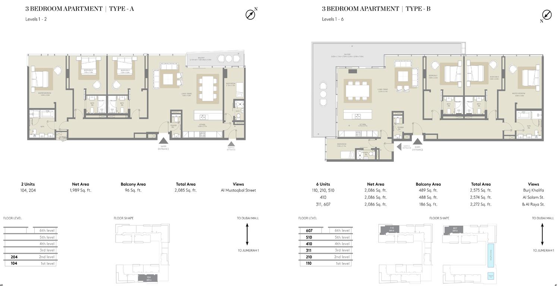 شقة بثلاث غرف نوم  نوع A ، نوع B، حجم 2085 قدم مربع