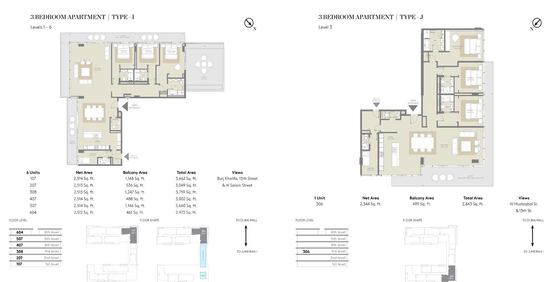 شقة بثلاث غرف نوم   نوع I  نوع J، حجم 2973 قدم مربع