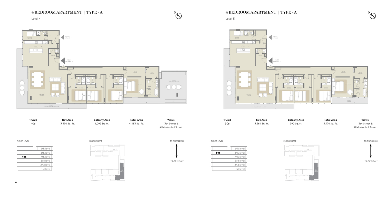 شقة بأربع غرف نوم نوع A،  المستوى 4 ، المستوى 4  حجم 4483 قدم مربع