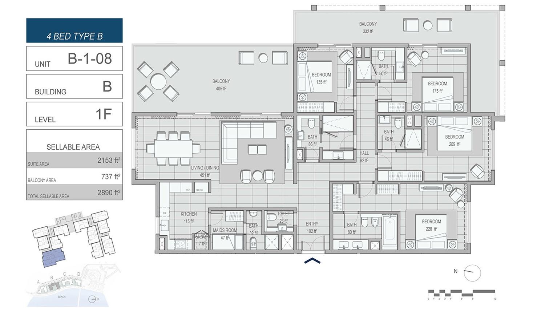 4 غرف نوم نوع B ، وحدة B-1-08 ، مبنى B ، مستوى 1F ، مساحة 2890 قدم مربع.