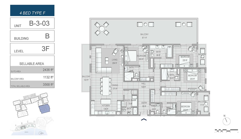 4 غرف نوم نوع F ، وحدة B-3-03 ، مبنى B ، مستوى 3F ، مساحة 3568 قدم مربع.