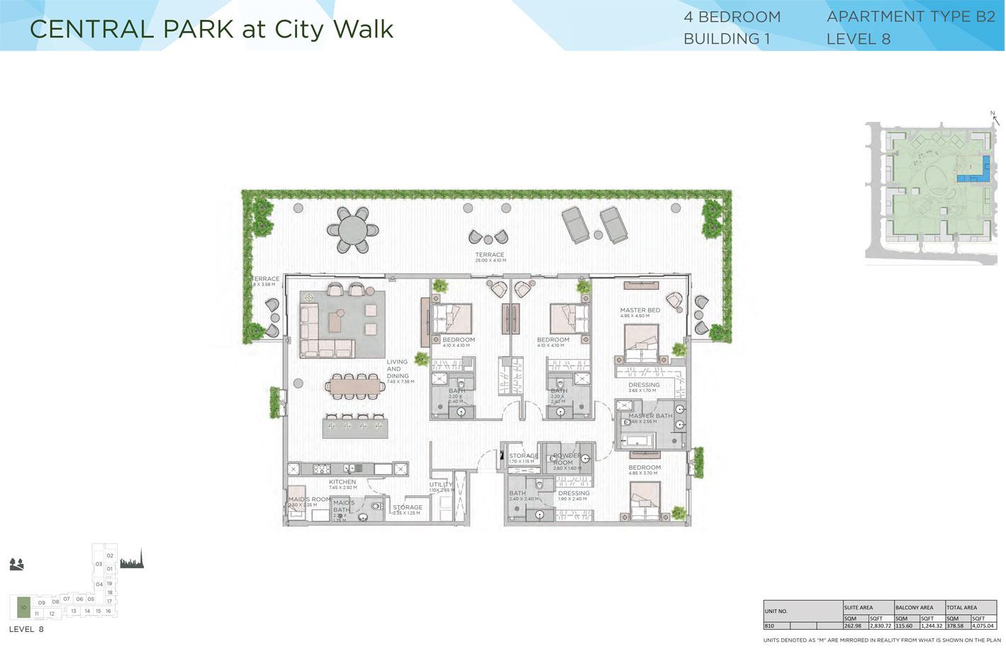 أربع غرف نوم، المبنى 1، المستوى 8، نوع B2، حجم 4075 قدم مربع