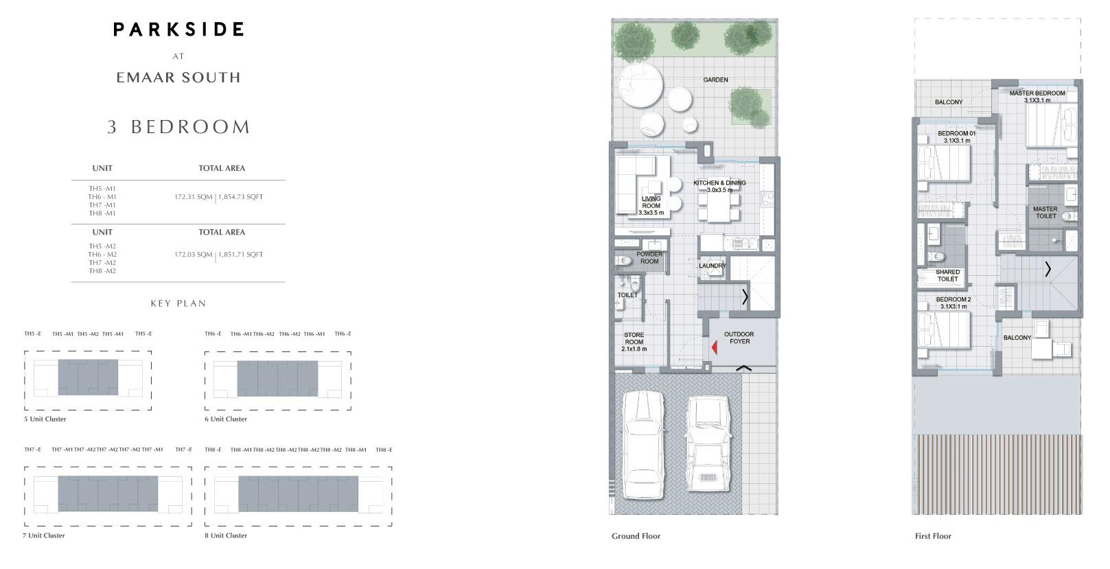 3 غرف نوم 1،851.71 - 1،854.73 قدم مربع
