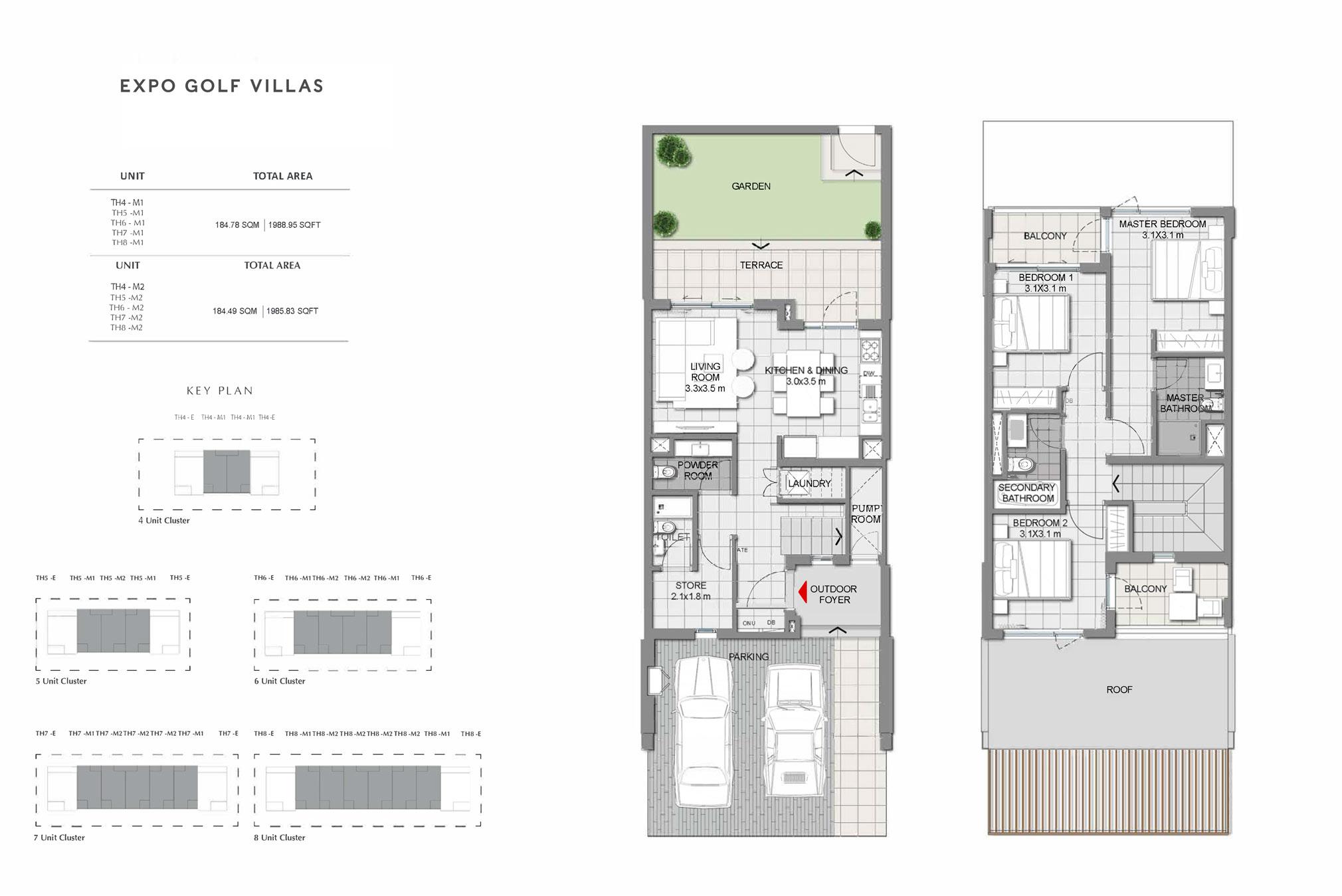 3 غرف نوم: 1،985 - 1،992 قدم مربع