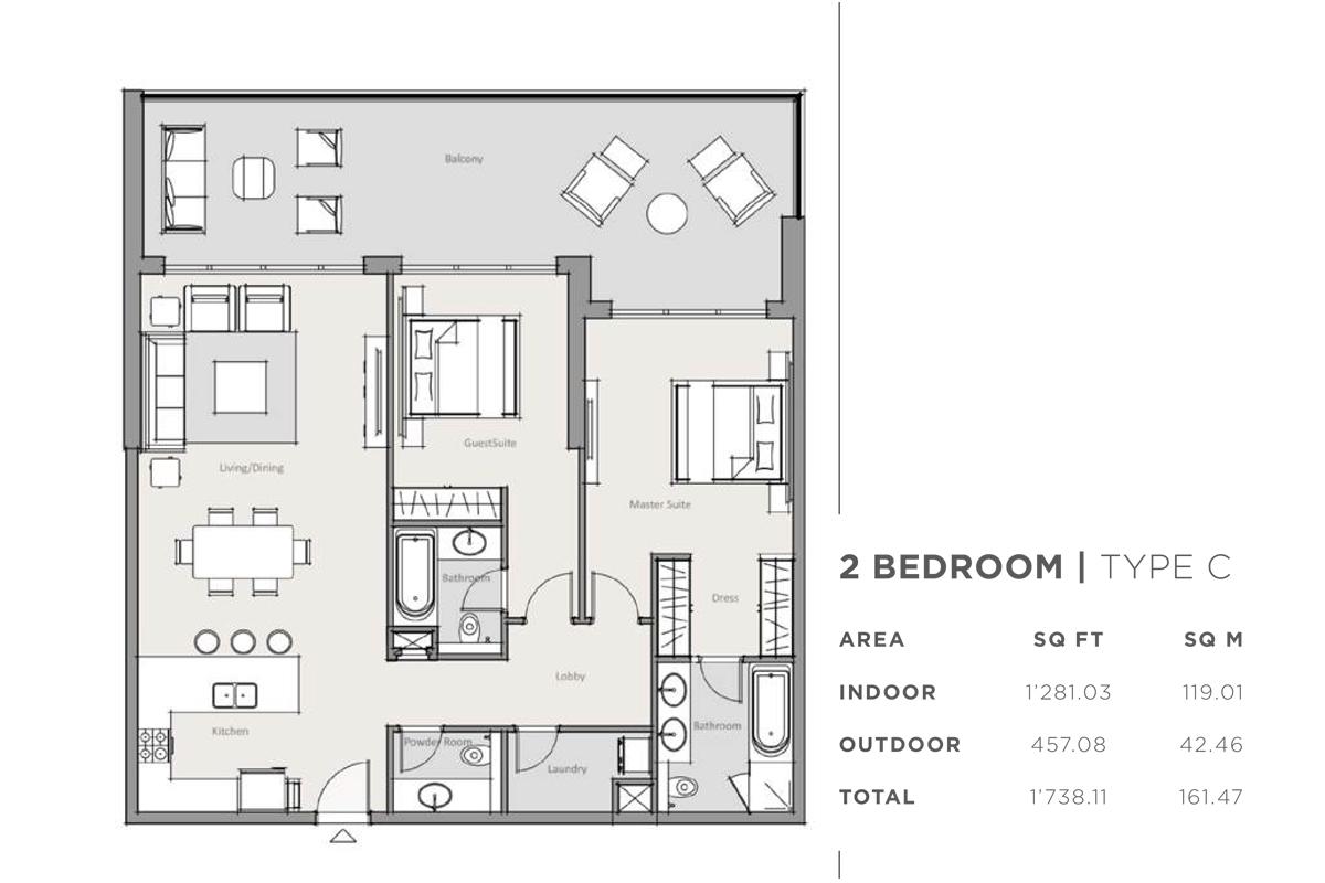 غرفتي نوم من نوع C