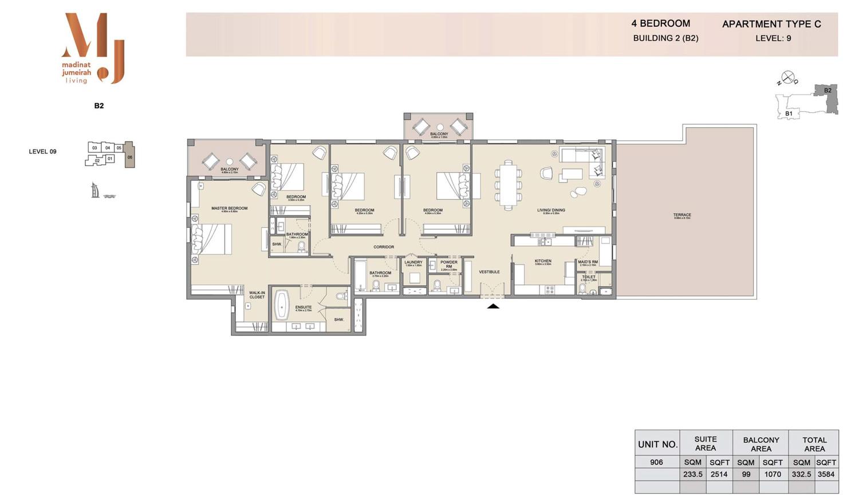 اربع غرف نوم، منبى 2 - نوع سي، الطابق الـ9 - المساحة 3584 قدم مربع