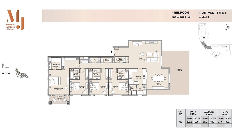 اربع غرف نوم، منبى 3 - نوع إف، الطابق الـ8 - المساحة 3007 قدم مربع