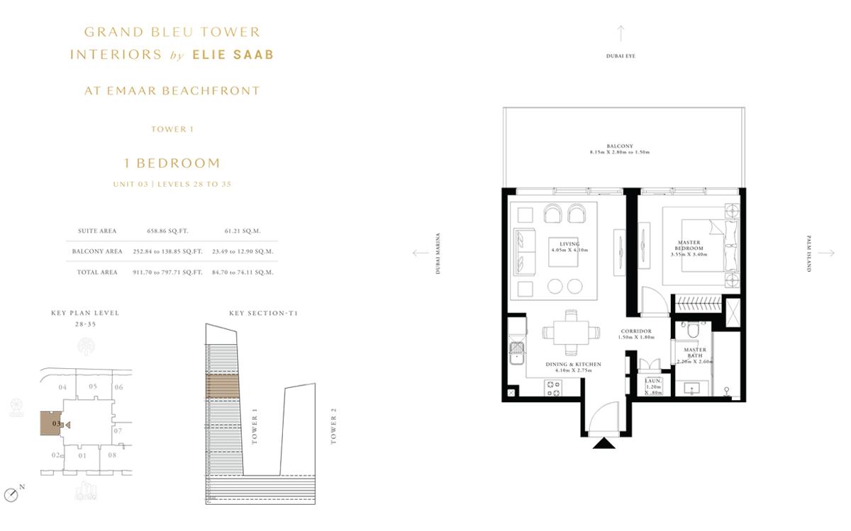 غرفة نوم واحدة، وحدة 3، مستوى 28 إلى 35، حجم 911 قدم مربع
