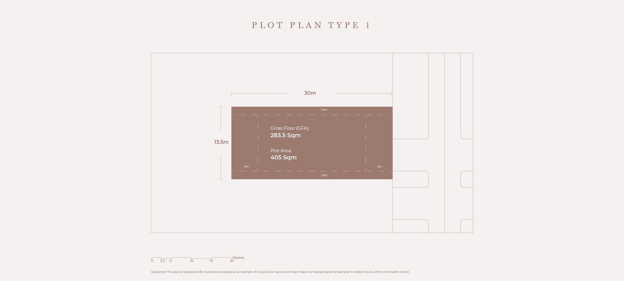 قطع أرض،  نوع الخطة 1، حجم 405 متر مربع