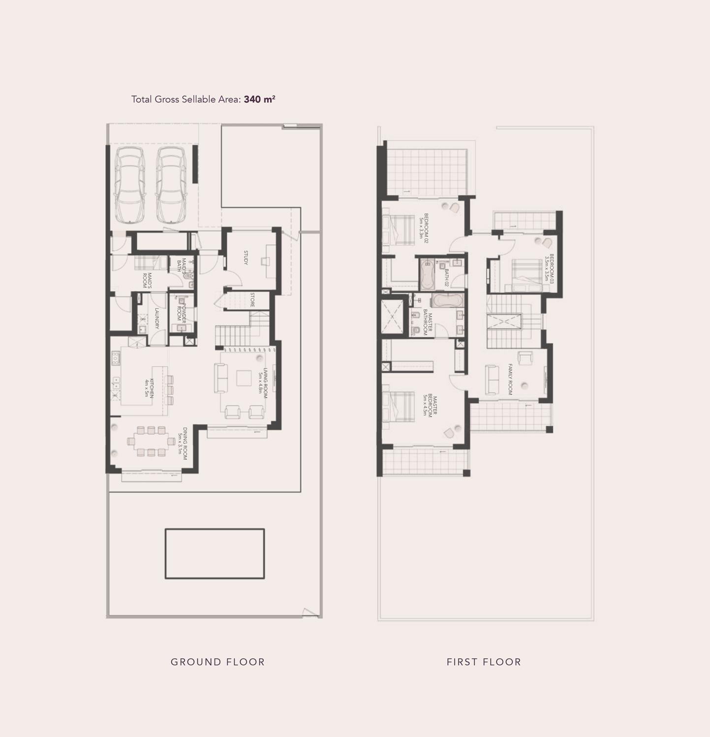 3 غرف نوم -  فيلا شبه منفصلة