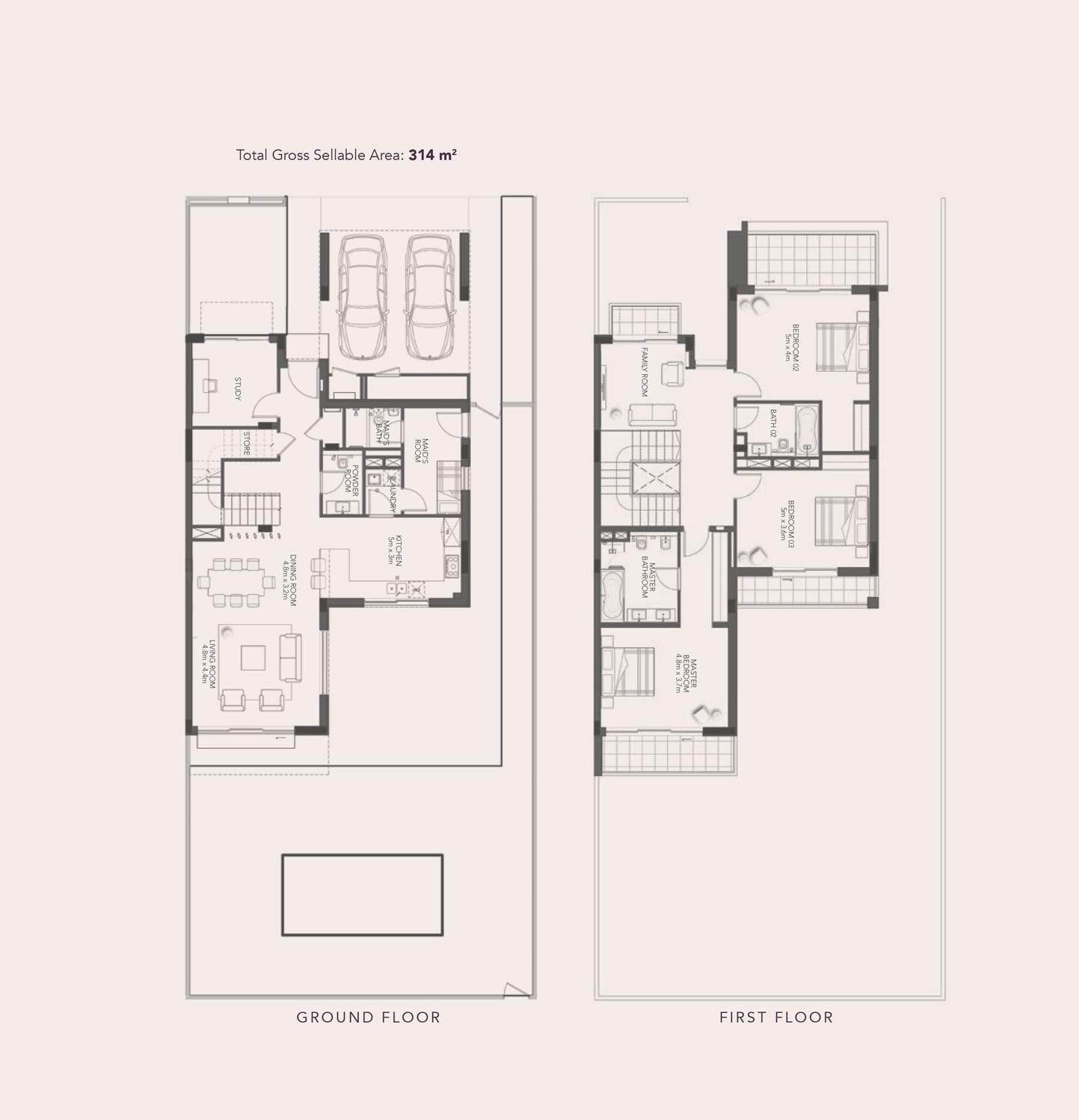 3 غرف نوم – فيلا شبه منفصلة - نوع -B-3Y